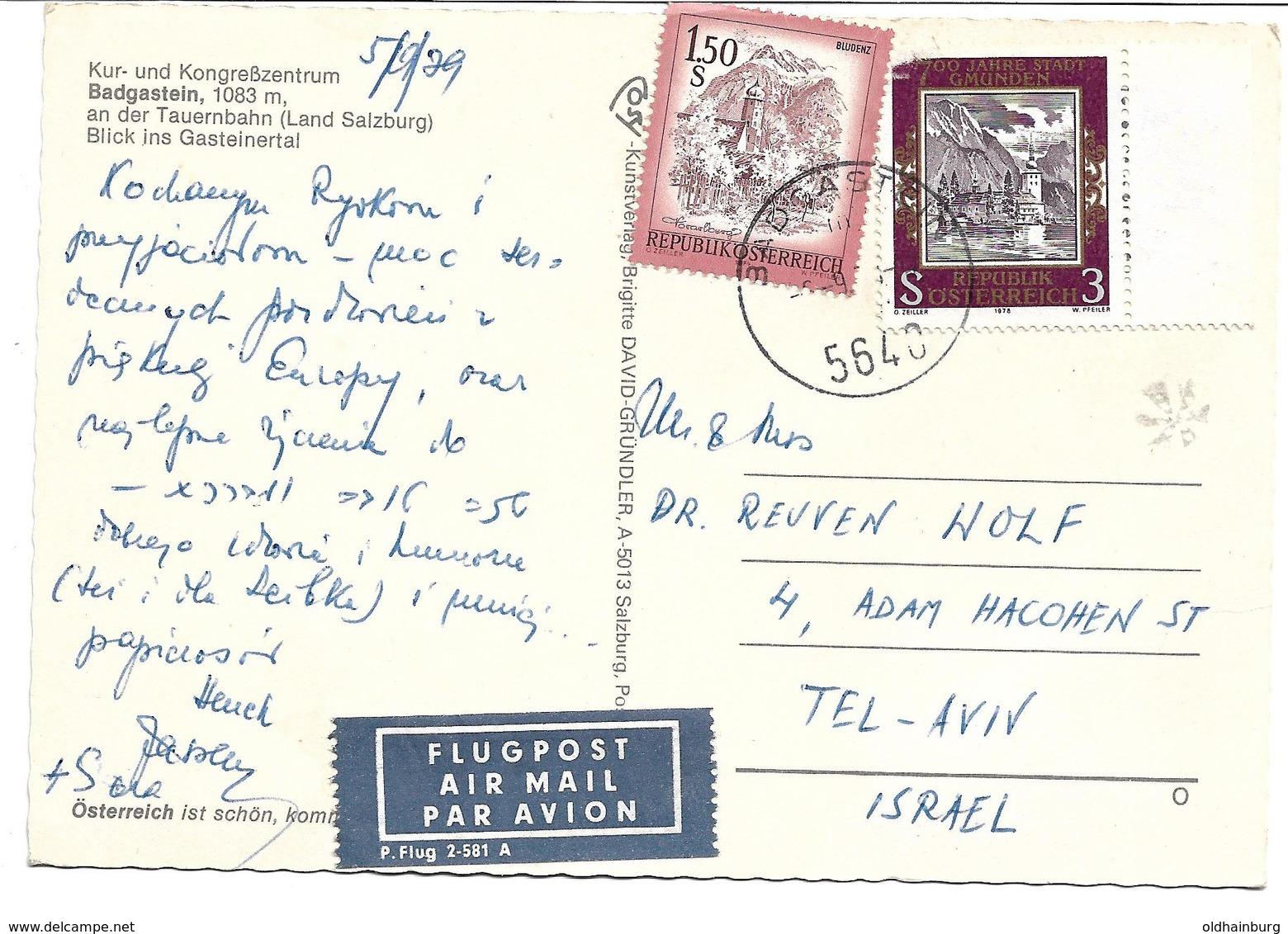 3078g: AK Weltkurort 5640 Bad Gastein, Gelaufen 1979 Nach Tel Aviv, Israel - Bad Gastein