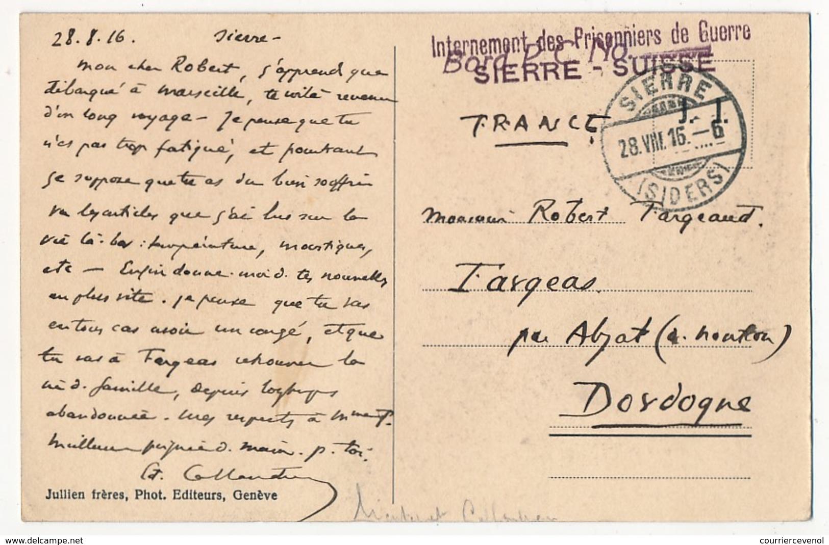 """Griffe """"Internement Des Prisonniers De Guerre - SIERRE Suisse"""" 1916 Sur CP - Military Post"""