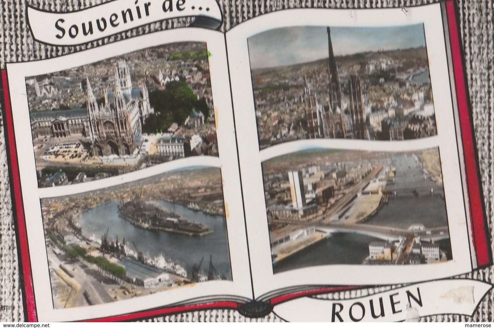 ROUEN (76). Souvenir De ... Forme Livre, 4 Vues: Dont Presqu'île Rollet Et Port (Bateau), Les Ponts La Tour Des Archives - Rouen