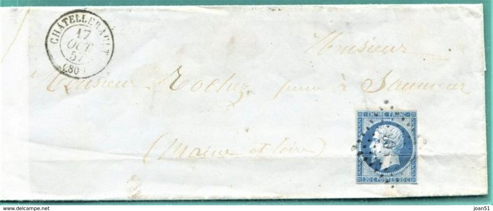 M10 : TAD CONVOYEUR AMBULANT BORDEAUX A PARIS +OCT 1857 + TAD SAUMUR + TAD LOSANGE CHATELLERAULT SUR NAPOLEON - Postmark Collection (Covers)