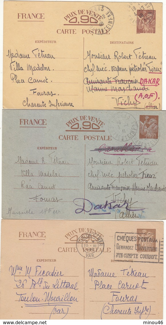 TRES BON LOT DE 5 CARTES TYPE IRIS.COULEUR DIFFERENTES.CERTAINES  ENTRE LE SENEGAL ET LA FRANCE.VOIR SCANS ET DESC. - Postal Stamped Stationery