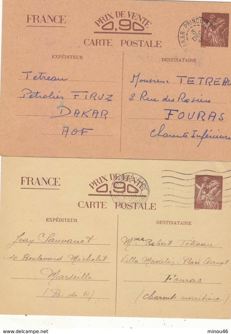 TRES BON LOT DE 5 CARTES TYPE IRIS.COULEUR DIFFERENTES.CERTAINES  ENTRE LE SENEGAL ET LA FRANCE.VOIR SCANS ET DESC. - Enteros Postales