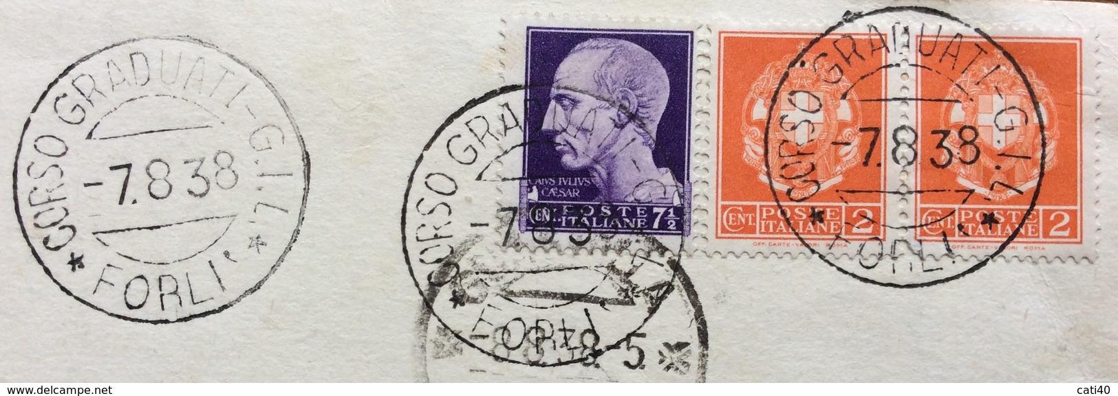 FASCISMO FORLI' CORSO GRADUATI G.I.L. 7/8/38  Annullo SU 7,5+ Coppia 2 C.  SU CARTOLINA TARIFFA RIDOTTA PER GUASTALLA - Documentos Históricos