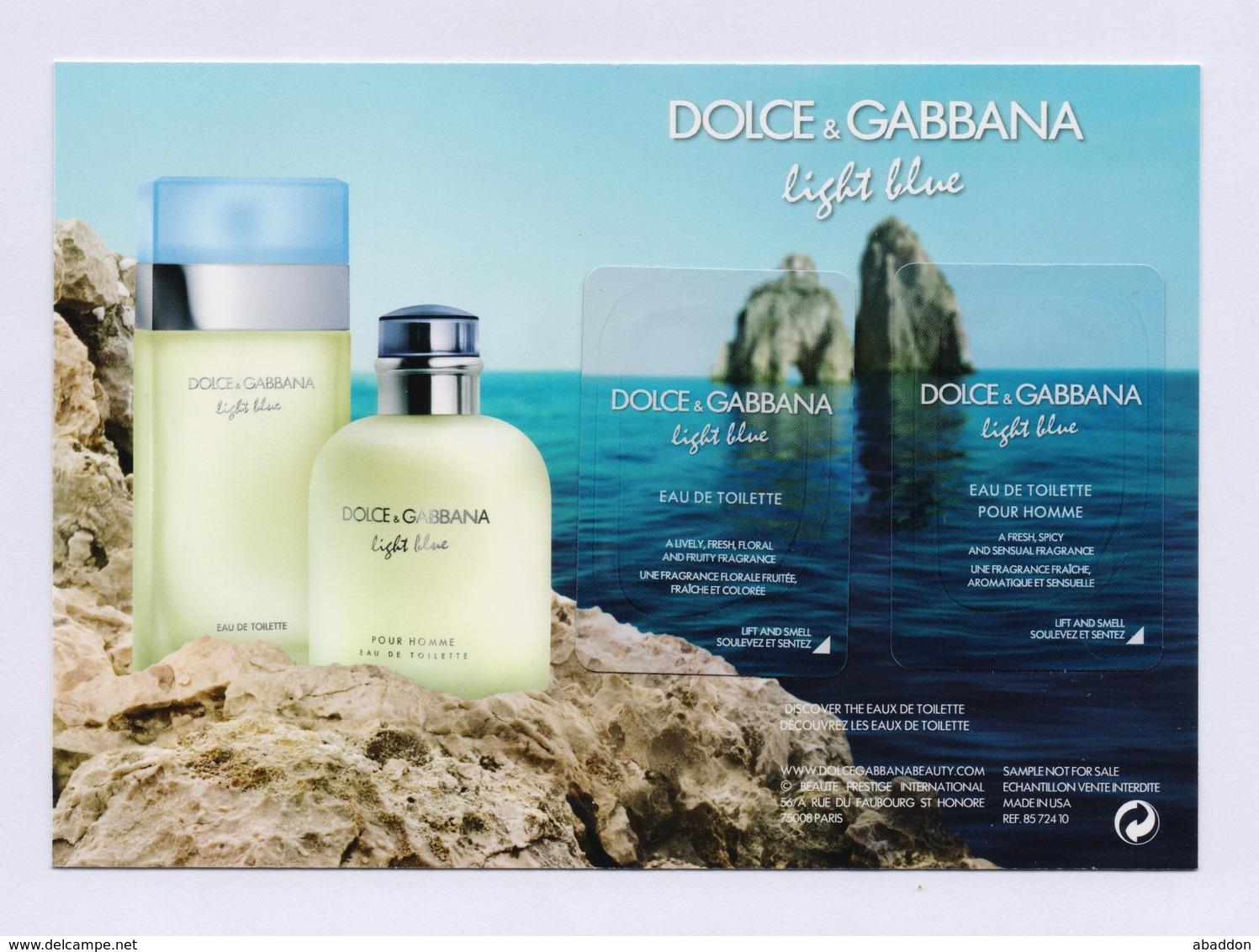 DOLCE & GABBANA - Light Blue --- Carte Parfumée Perfume Card Avec 2 Patch - Modern (ab 1961)