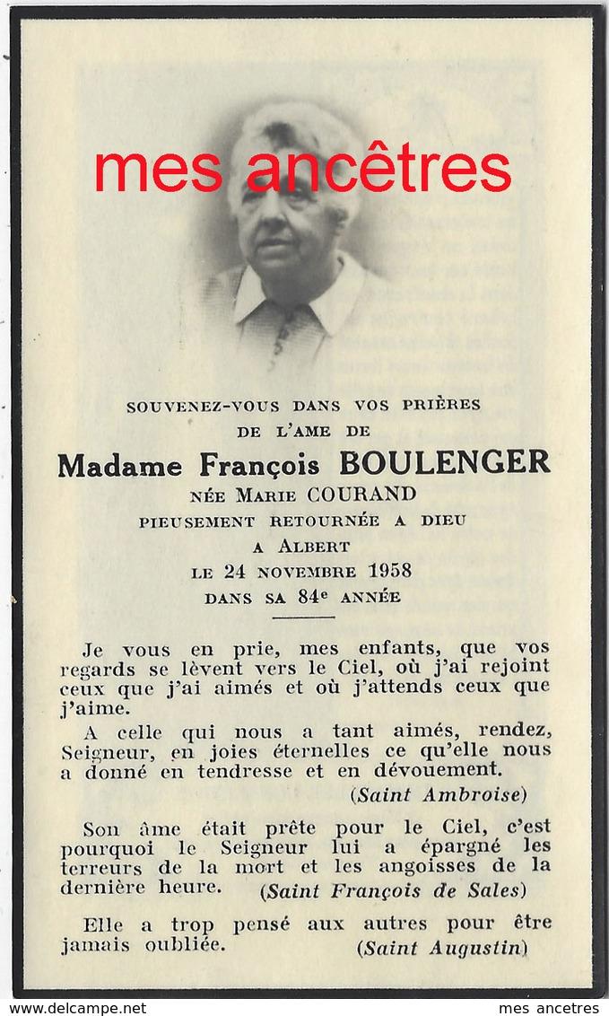 En 1958-à Albert (somme) - Marie  COURAND épouse BOULENGER - Décès