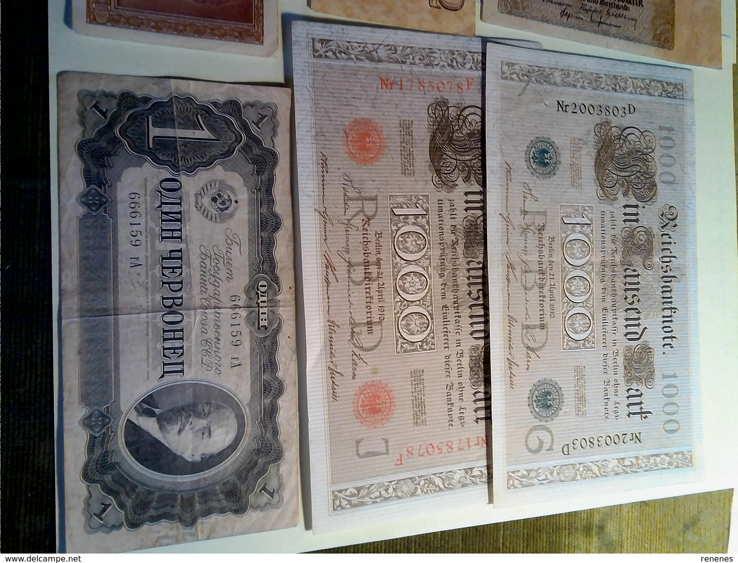 Lot De 10 Billets: 8 Allemagne,1 Russe,1 Italie - Coins & Banknotes
