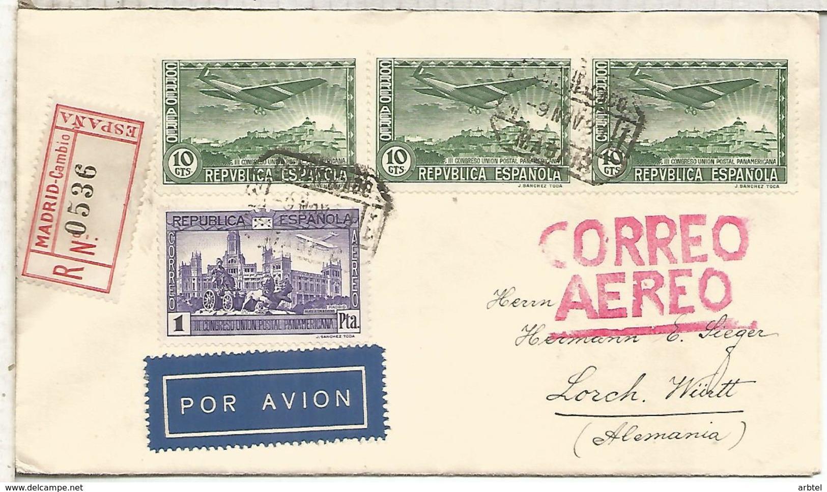 MADRID SEGUNDA REPUBLICA CC CERTIFICADA A LORCH ALEMANIA 1931 AL DORSO LLEGADA - 1931-Hoy: 2ª República - ... Juan Carlos I