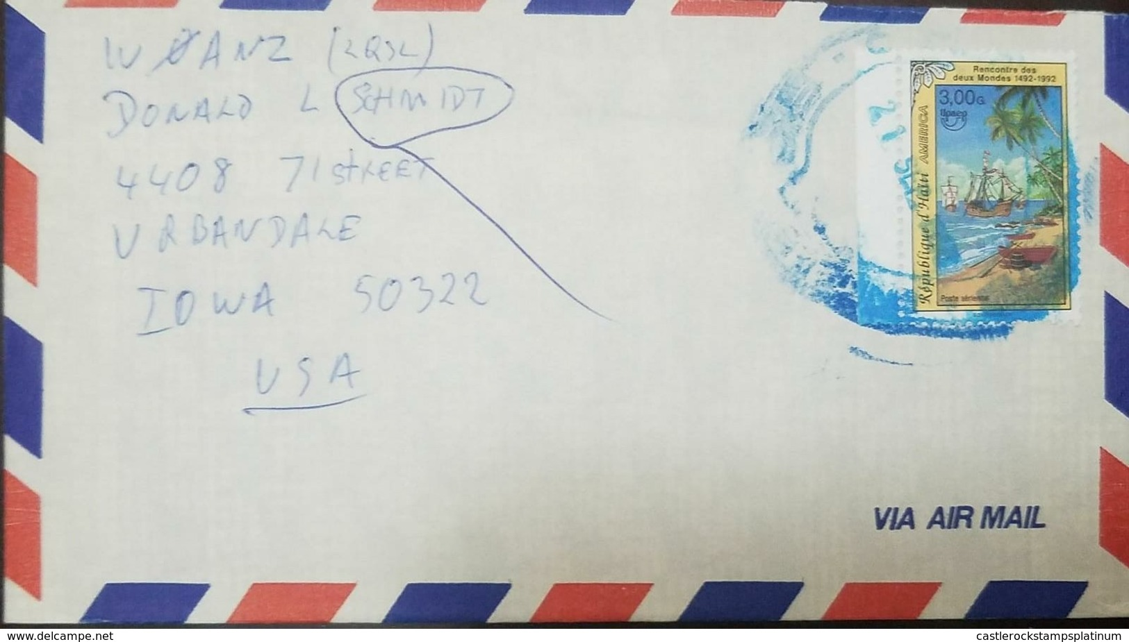 O) 1992 HAITI, AMERICA UPAEP - DISCOVERY OF AMERICA - SHIPS -BEACHED LONG BOATS -SCT 858 3g, AIRMAIL TO USA - Haiti