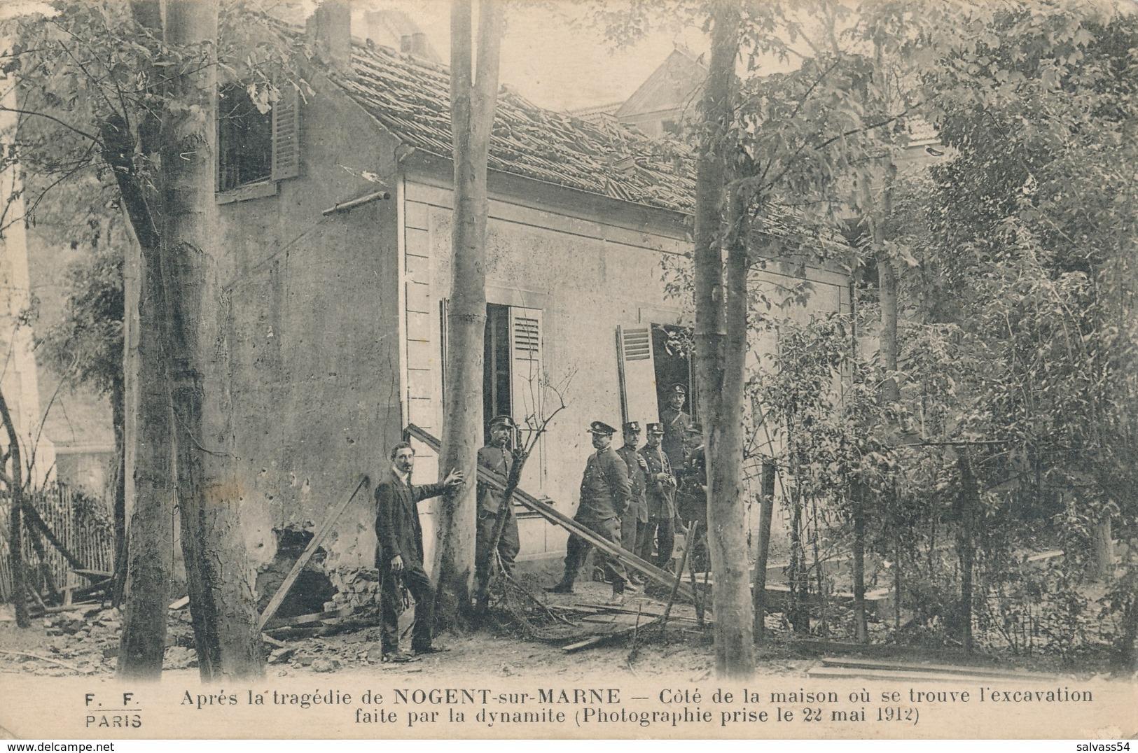 94) NOGENT-SUR-MARNE : Garnier Et Vallet (1912) Côté De La Maison Où Se Trouve L'excavation Faite Par La Dynamite - Nogent Sur Marne