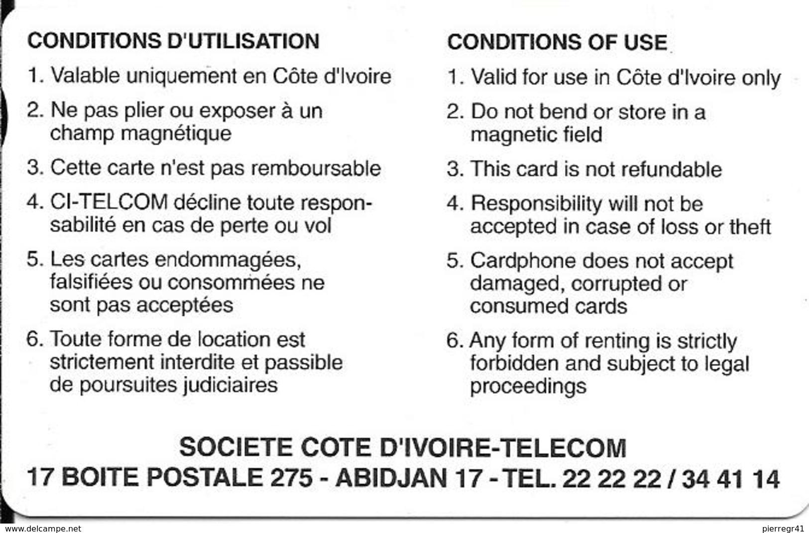 CARTE MAGNETIQUE-COTE IVOIRE-AUTELCA-1000 FCFA-VERTE-TBE-RARE - Ivory Coast
