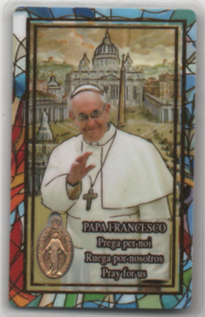 Santino Con Medalietta Di Papa Francesco Bergoglio - Andachtsbilder