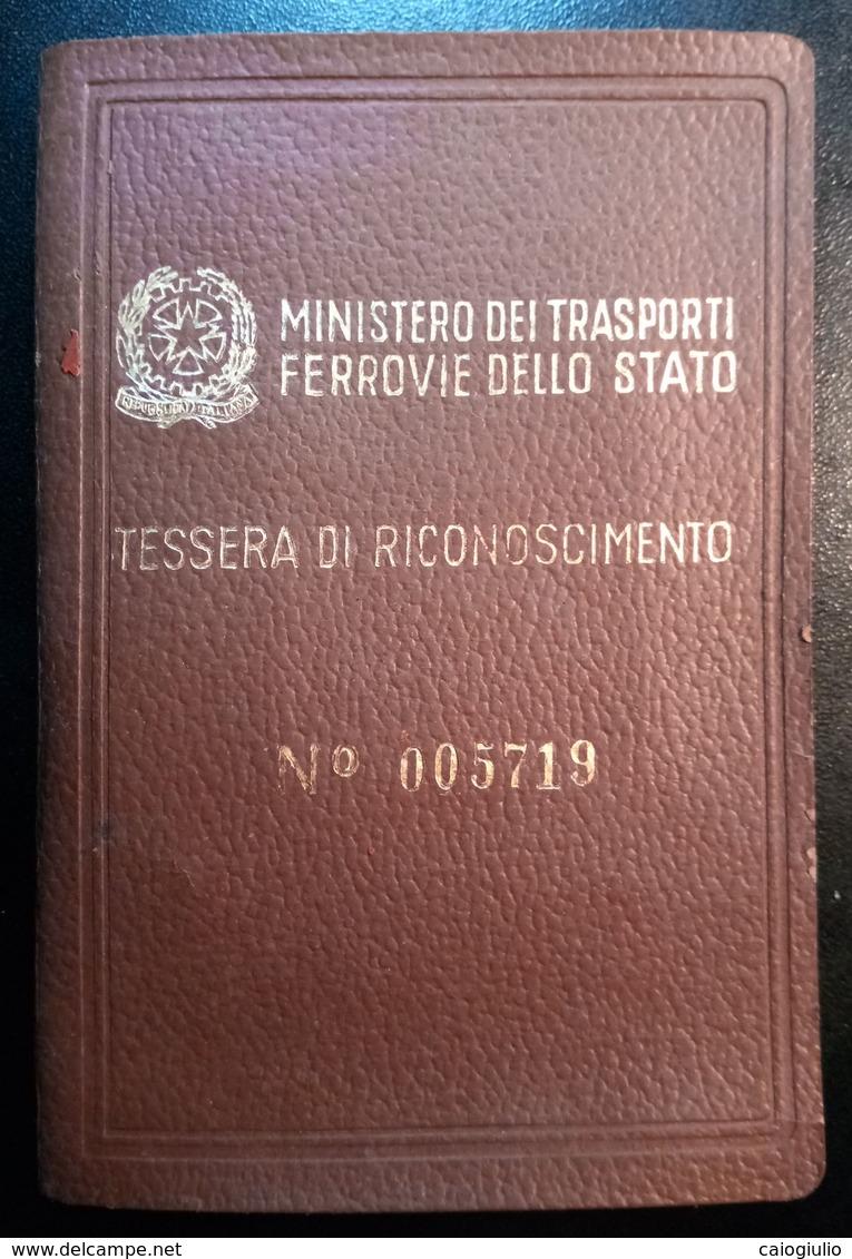 MINISTERO DEI TRASPORTI FERROVIE STATO TESSERA RICONOSCIMENTO 1953 - Europa