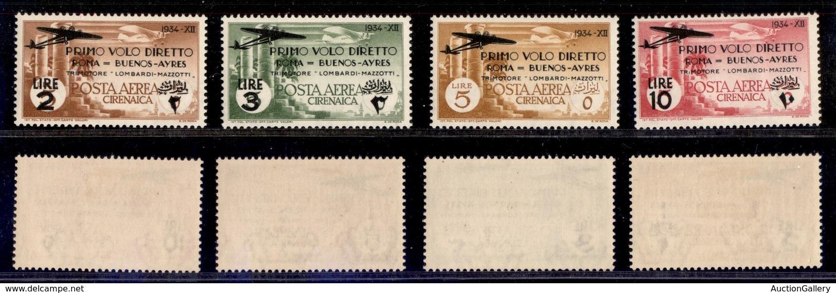 COLONIE - CIRENAICA - 1934 - Volo Roma-Buenos Aires (20/23 Aerea) - Serie Completa - Gomma Originale - Postzegels