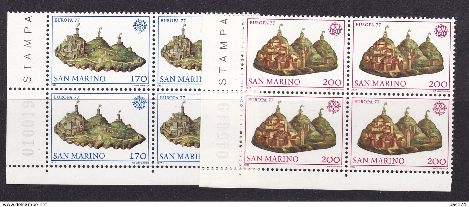 1977 San Marino Saint Marin EUROPA CEPT EUROPE 4 Serie Di 2v. MNH** Quartina Bl.4 - Europa-CEPT