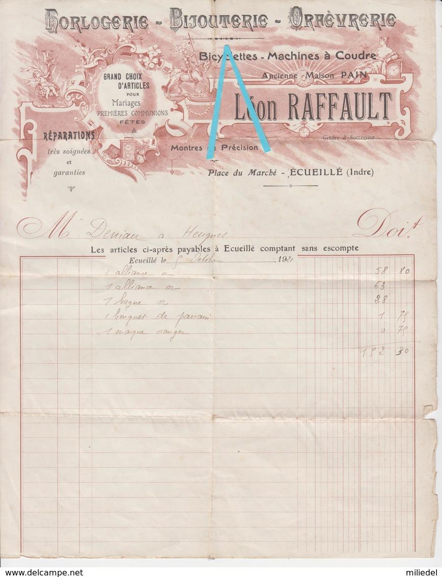 DOC 004 - FACTURE DE LA BIJOUTERIE HORLOGERIE ORFEVRERIE - Léon RAFFAULT à ECUEILLE - 1921 - Autres