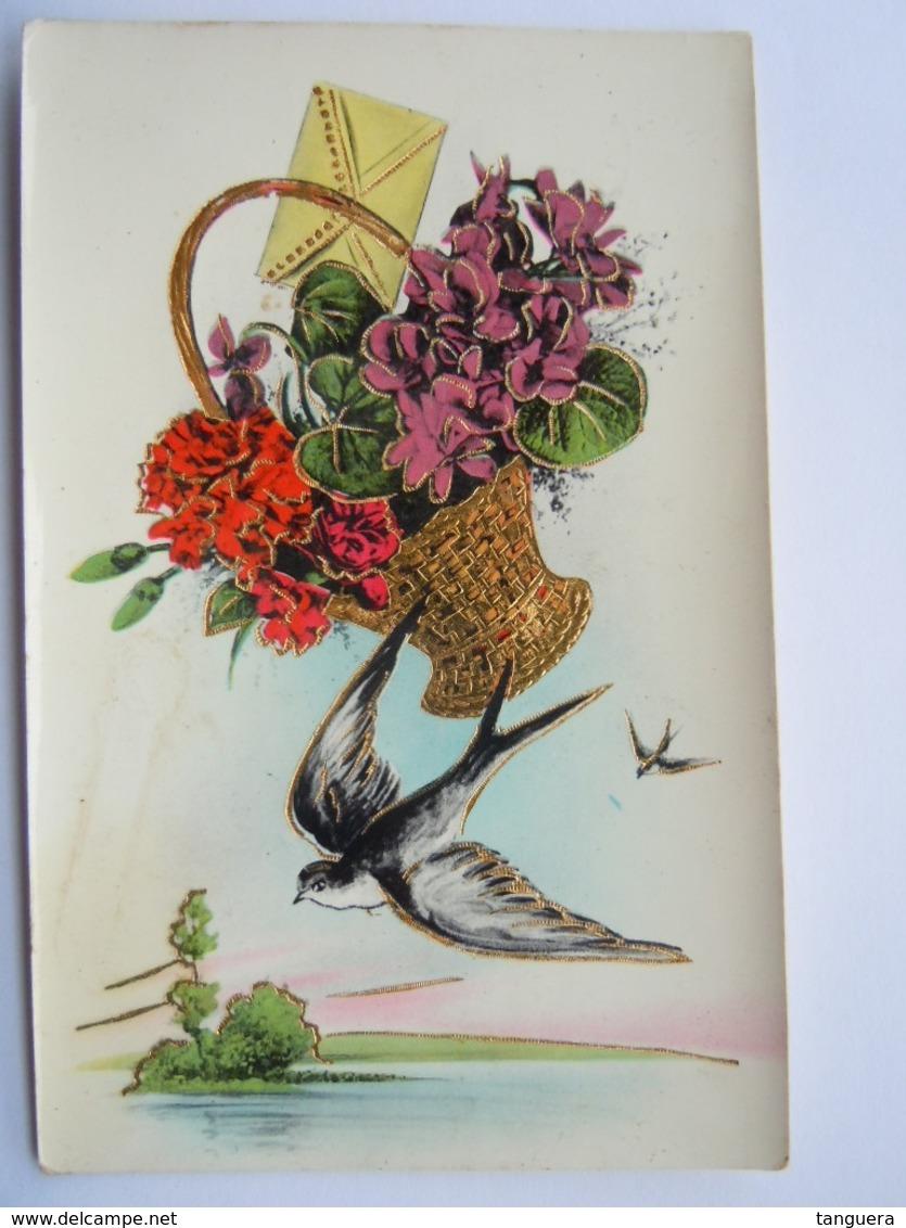 Mand Bloemen Zwaluwen Corbeille Fleurs Hirondelle Glacée Glanzend Cecami N 2002 Gelopen Circulée 1949 - Bloemen