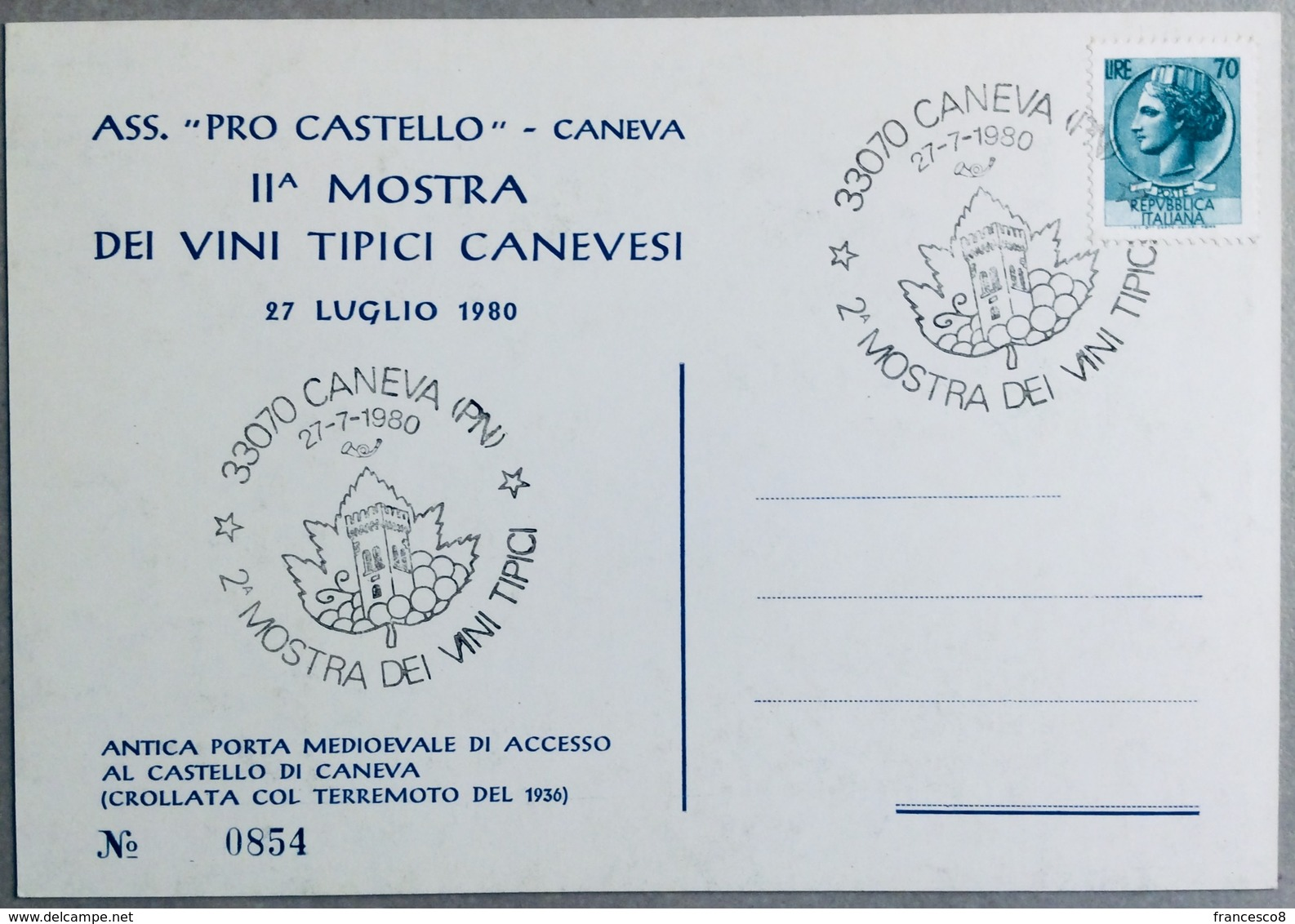1980 CANEVA 2^ MOSTRA DEI VINI TIPICI /  VINO // Wine - Vin - Wein / Pordenone / Sacile - Manifestazioni