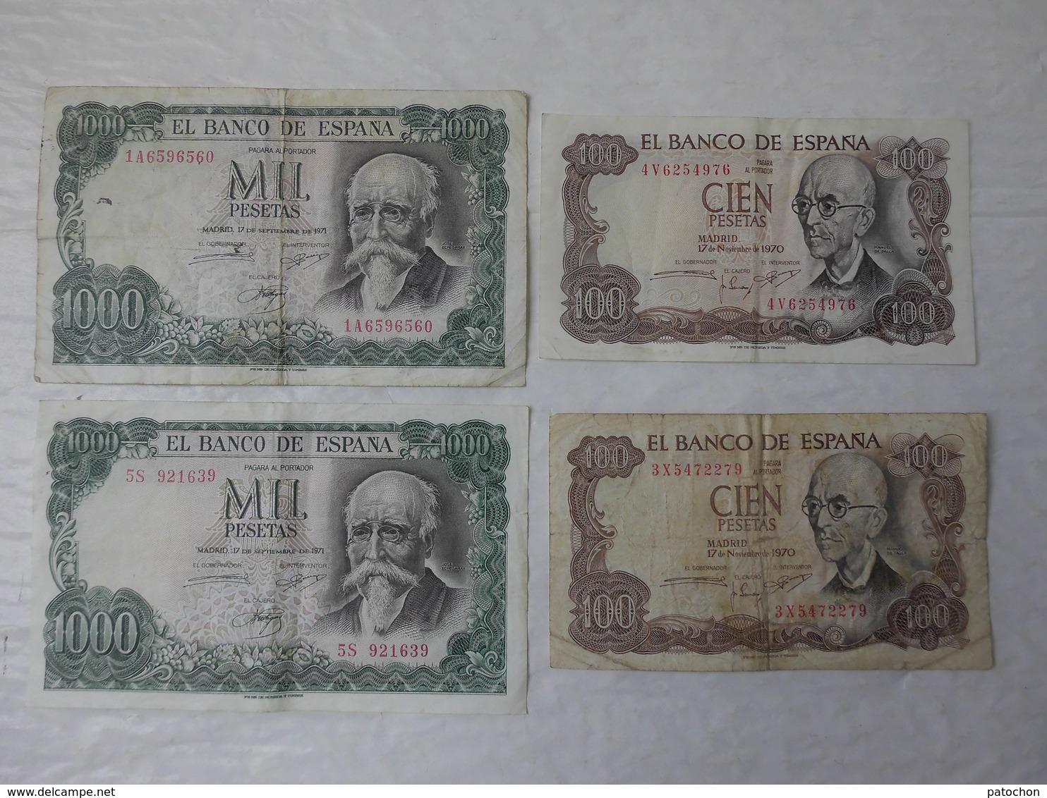 Billet De Banque Espagne 2 X 100 & 2 X 1000 Pesetas 1970 & 1971...! - 1000 Pesetas