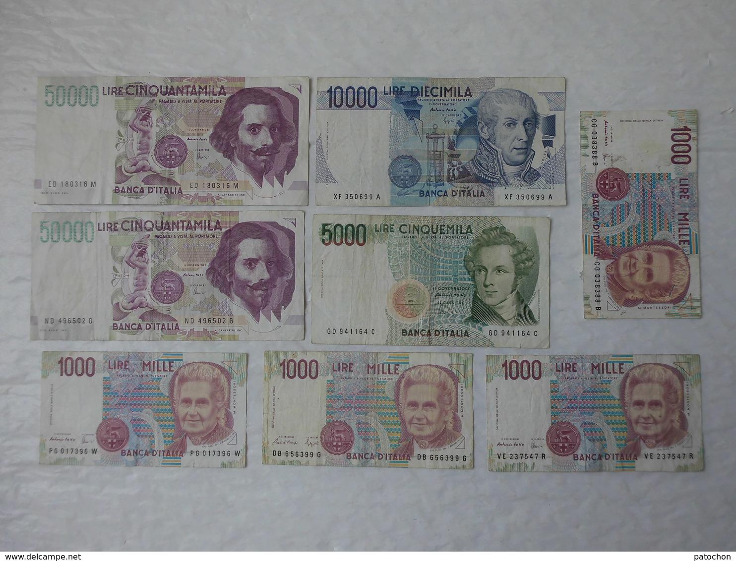 Billet De Banque Italia 2 X 50000 & 10000 & 5000 & 4 X 1000 Lire ...! - [ 2] 1946-… : République