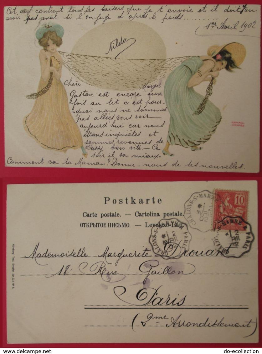 CPA Illustrateur RAPHAEL KIRCHNER Femmes Transportant Un Oeuf Dans Un Filet 1902 Convoyeur CHALONS SUR MARNE A PARIS - Kirchner, Raphael