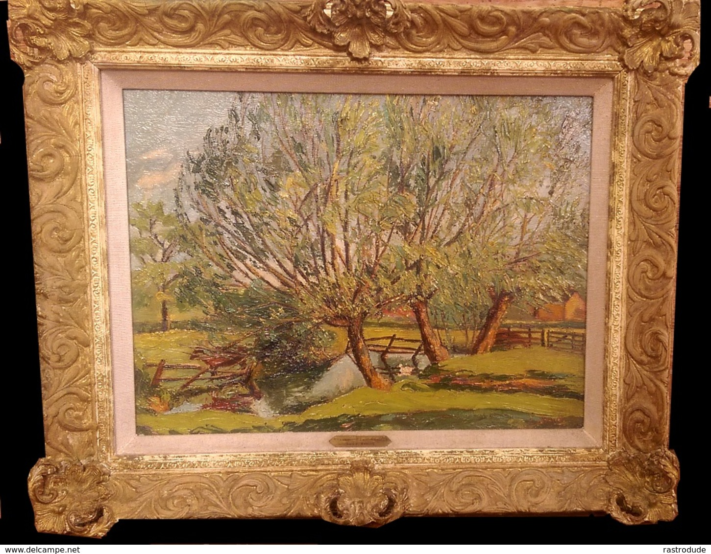 LUCY YOUNG - OIL ON FRENCH PANEL - Ca. 1920 TITLE: POND WITH WILLOW, KNOWLE - ROYAL INSTITUTE OF OIL PAINTERS, EXHIBITOR - Oils
