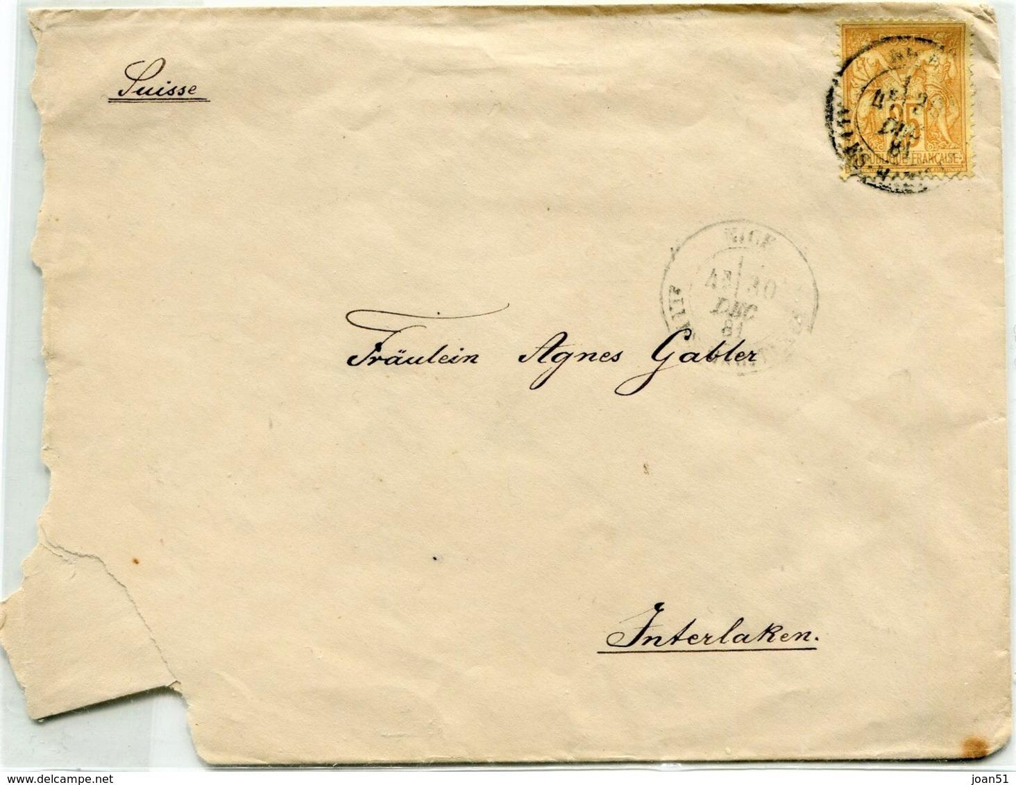 M32 :  PAIX ET COMMERCE 25c 1881 BISTRE SUR LETTRE NICE - Postmark Collection (Covers)