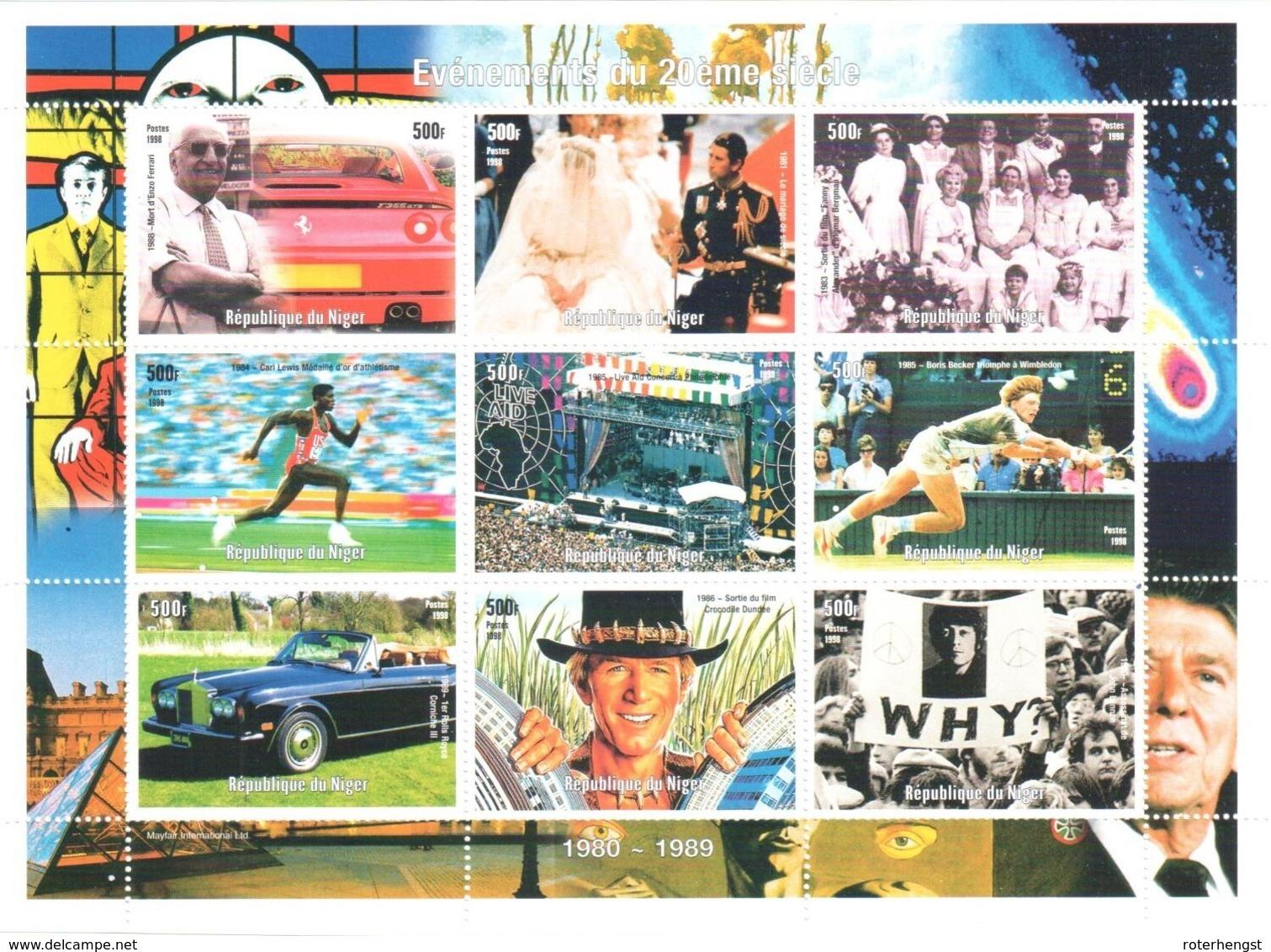 Niger Sheet Mnh ** Lady Di, Lennon Ferrari Becker Lewis Rolls Royce - Niger (1960-...)