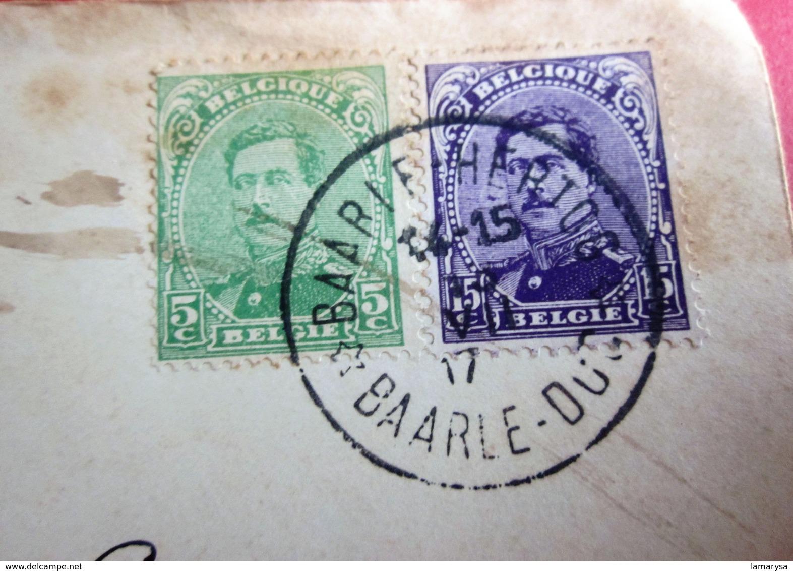 1917 WW I  - ENCLAVE BELGE BAARLE DUC VIA LA HAYE HOLLANDE Guerre 14-18 Timbres Europe Belgique 1917 Albert I- INVASION - WW I