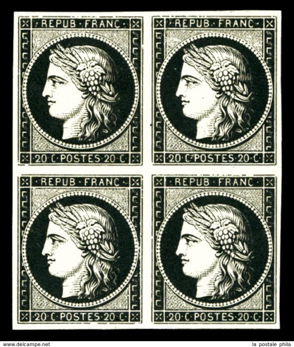 (*) N°3g, 20c Noir Intense Sur Blanc, Bloc De 4. TTB (signé Calves/certificat)  Qualité: (*)  Cote: 2000 Euros - 1849-1850 Cérès