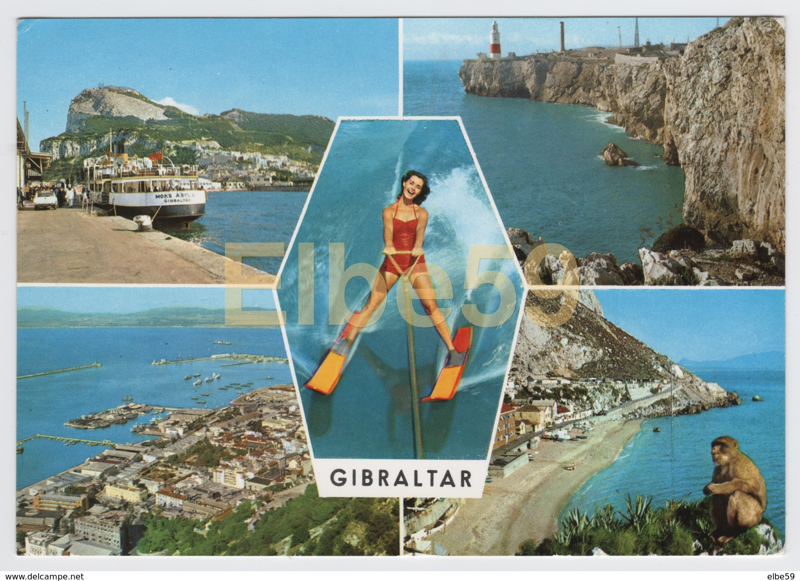 Gibraltar, Multivuew Card, Landscape, Water Ski, Monkey, Used - Gibraltar