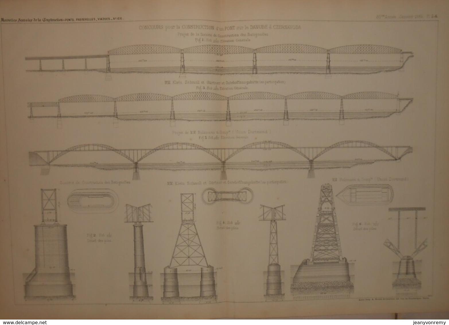Plan De La Construction D'un Pont Sur Le Danube à Czernavoda. Projet De La Société De Construction De Batignolles. 1884. - Travaux Publics