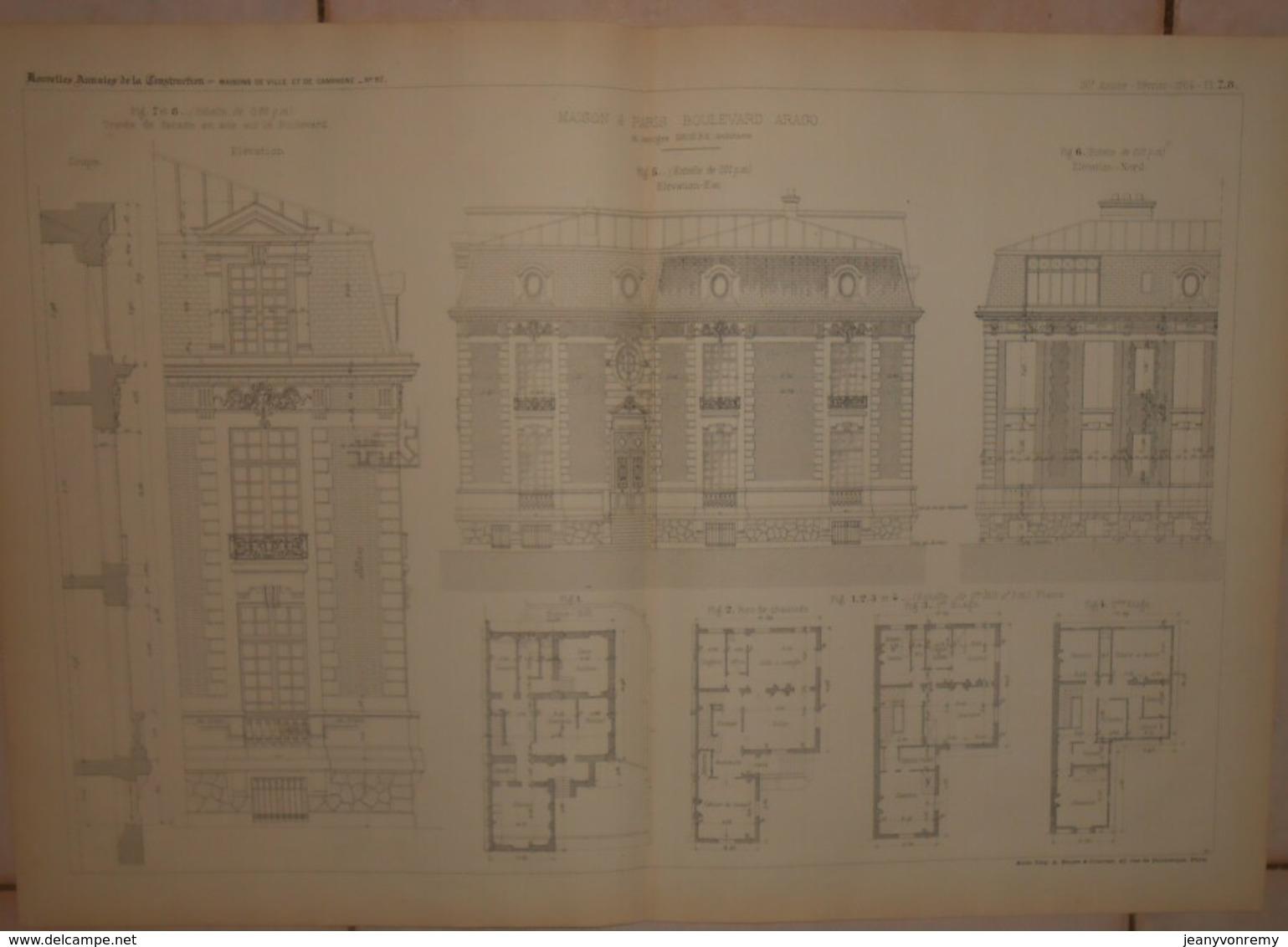 Plan D'une Maison à Paris, Boulevard Arago. M.Georges Brière, Architecte. 1884. - Architecture