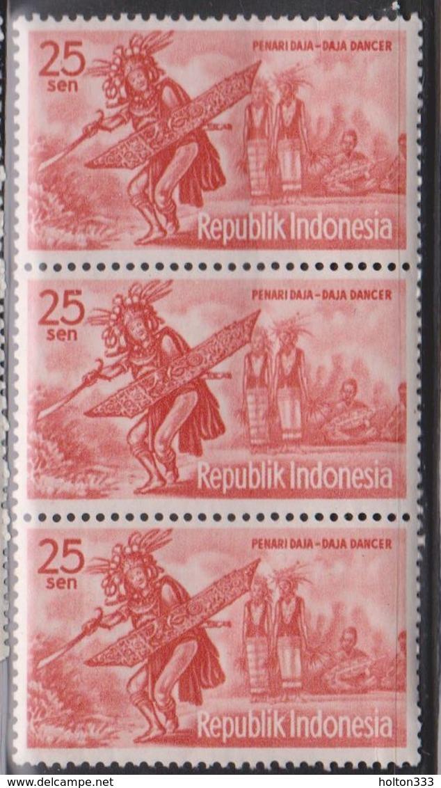 INDONESIA Scott # 510 MNH Strip Of 3 - Daja Dancer - Indonesia