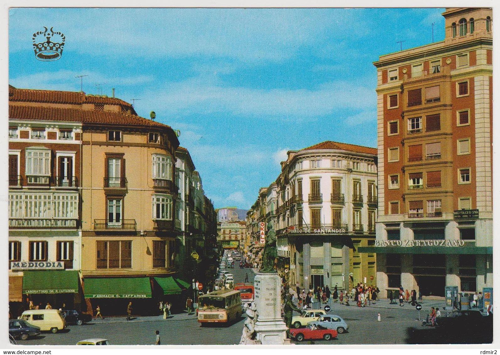 1717/ MÁLAGA. C/ Marqués De Larios (1974).- Bus, Voitures Cars Macchine Coches Autos.- Non écrite. Unused. No Escrita. - Málaga