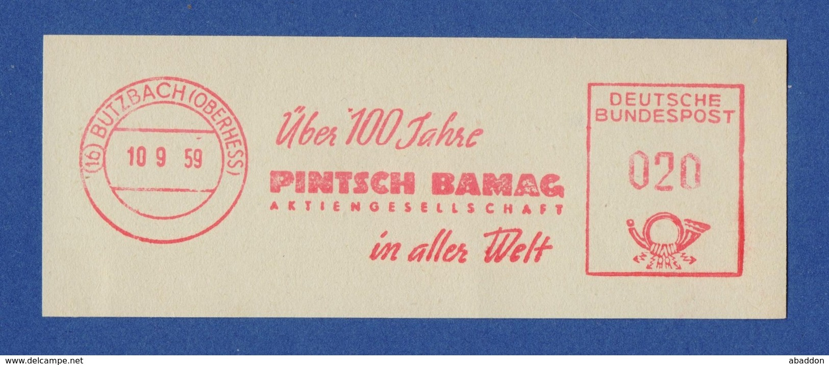 BRD AFS - BUTZBACH, Pintsch Bamag AG 10.9.59 - BRD