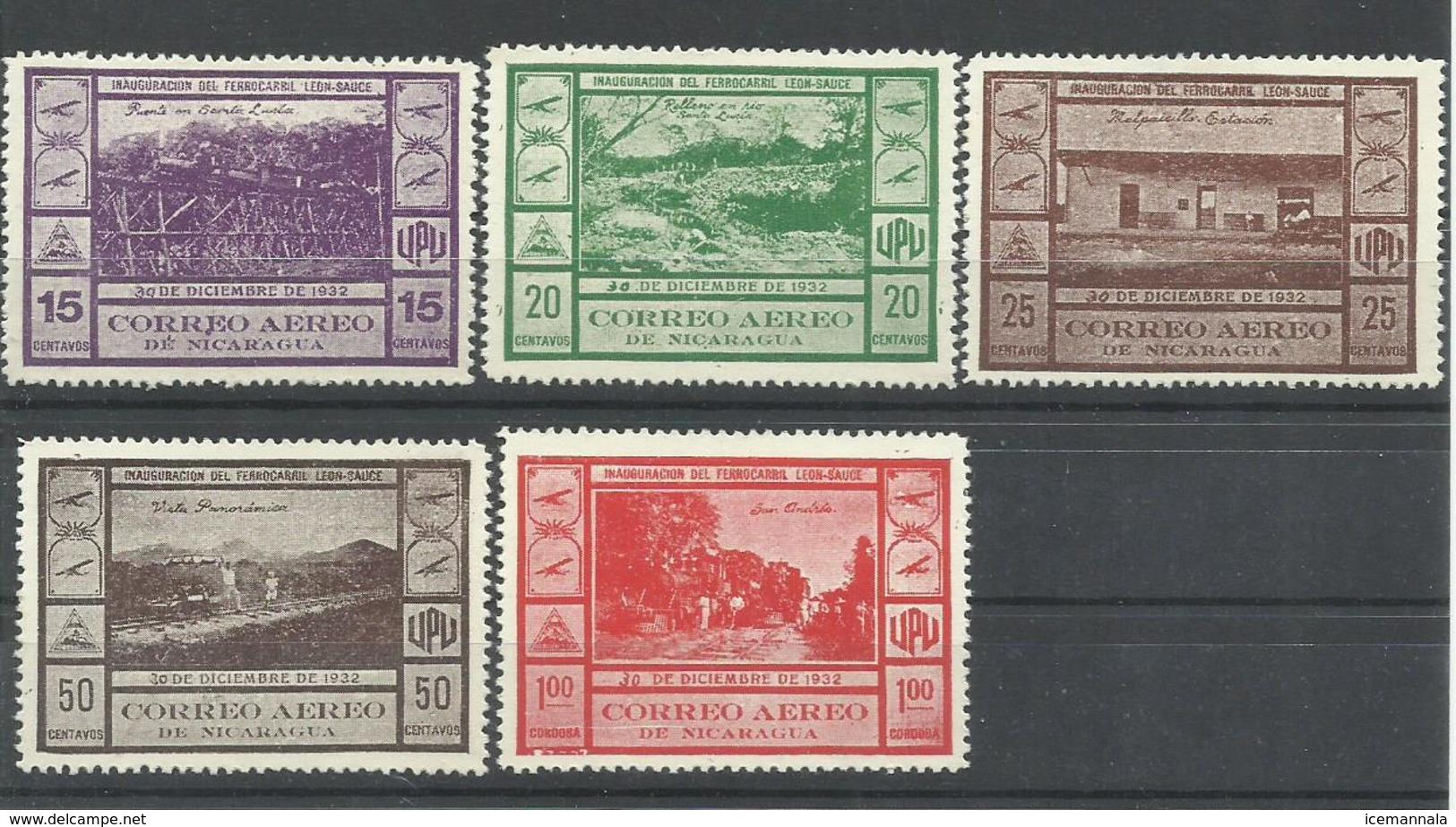 NICARAGUA YVERT  AEREO 47/51  MH  * - Nicaragua