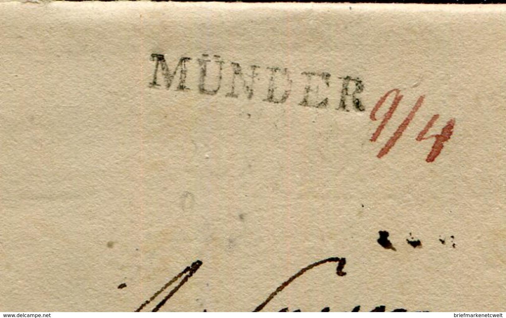 Hannover / 1835 / Vorphila-Brief L1-Stempel MUENDER, Hs. Datum (17067) - [1] Préphilatélie