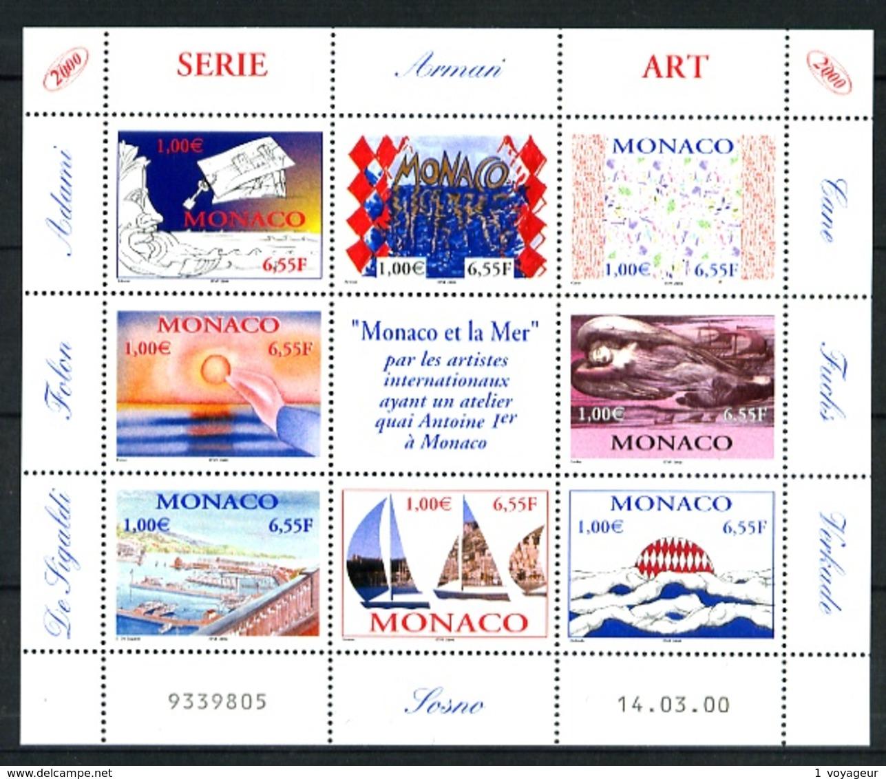 MONACO - 2240/2247 - Monaco Et La Mer - Feuillet 8 Valeurs - Neuf N** - Très Beau - Valeur Faciale 8,00 E - Unused Stamps