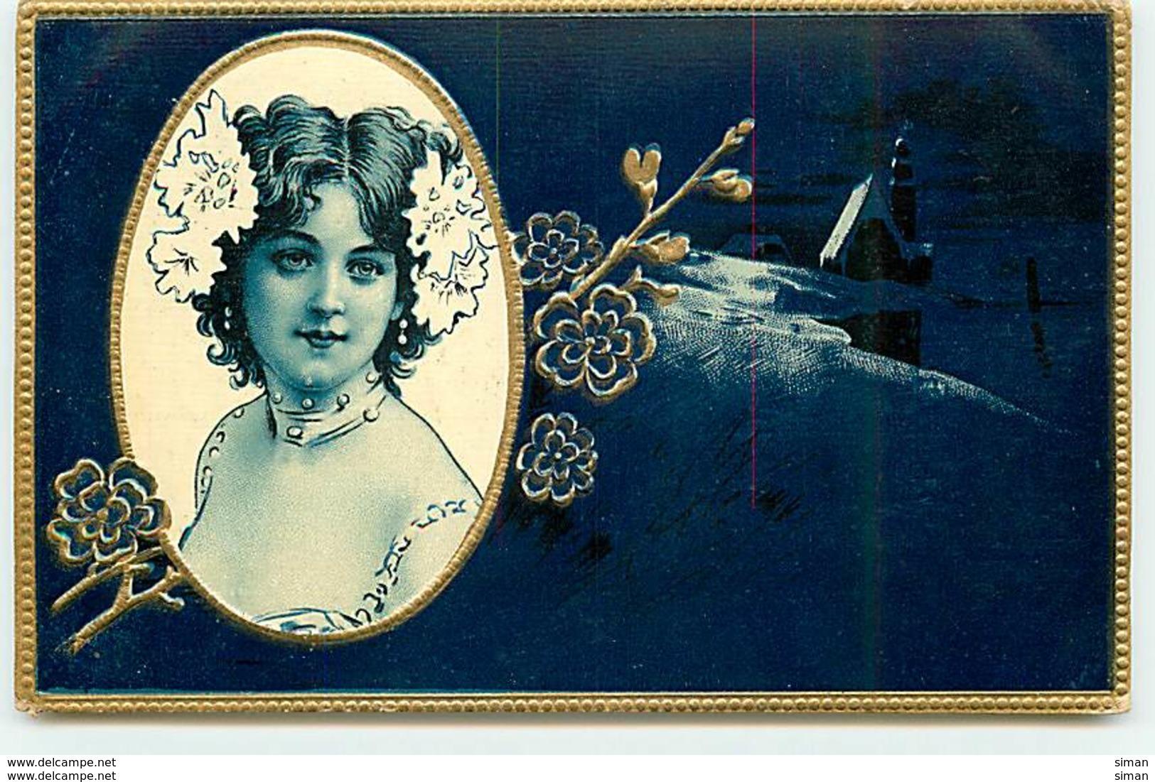 N°10553 - Carte Gaufrée - Portrait D'une Jeune Femme Dans Un Médaillon - Femmes