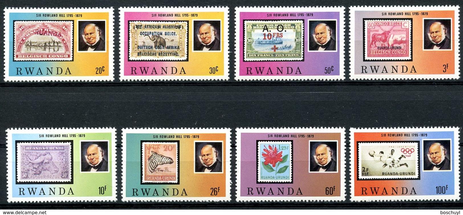 Rwanda, 1979, Sir Rowland Hill, UPU, Stamps On Stamps, MNH, Michel 1011-1018 - Rwanda