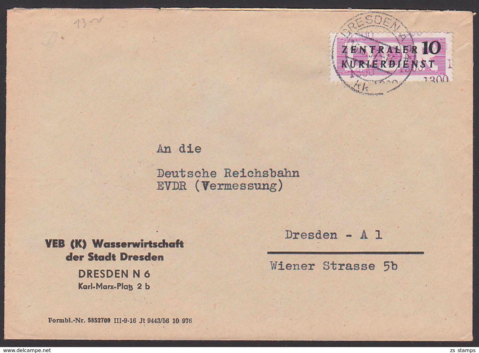 DRESEN DDR ZKD B10(1300) VEB (K) Wasserwirtschaft Ortsbrief 16.5.57 An Deutsche Reichsbahn - DDR