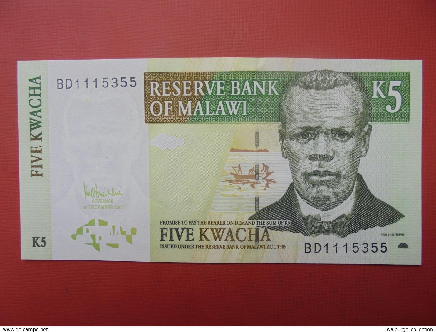 MALAWI 5 KWACHA 1997-2005 PEU CIRCULER/NEUF - Malawi