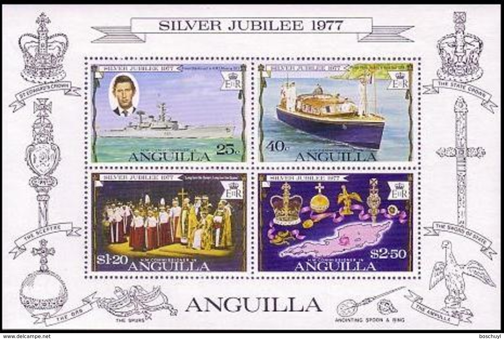 Anguilla, 1977, Silver Jubilee, Coronation Queen Elizabeth II, MNH, Michel Block 15 - Anguilla (1968-...)