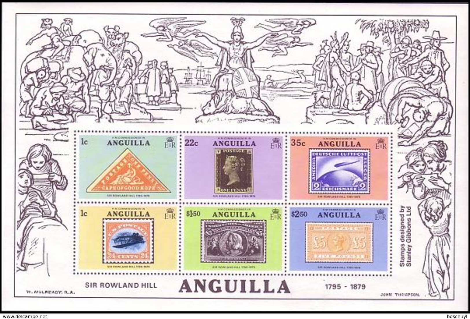 Anguilla, 1979, Sir Rowland Hill, UPU, Stamps On Stamps, MNH, Michel Block 25 - Anguilla (1968-...)