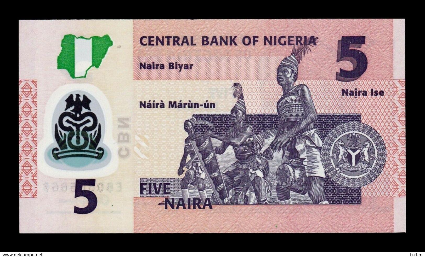Nigeria Lot Bundle 10 Banknotes 5 Naira 2017 Pick 38h Polymer SC UNC - Nigeria