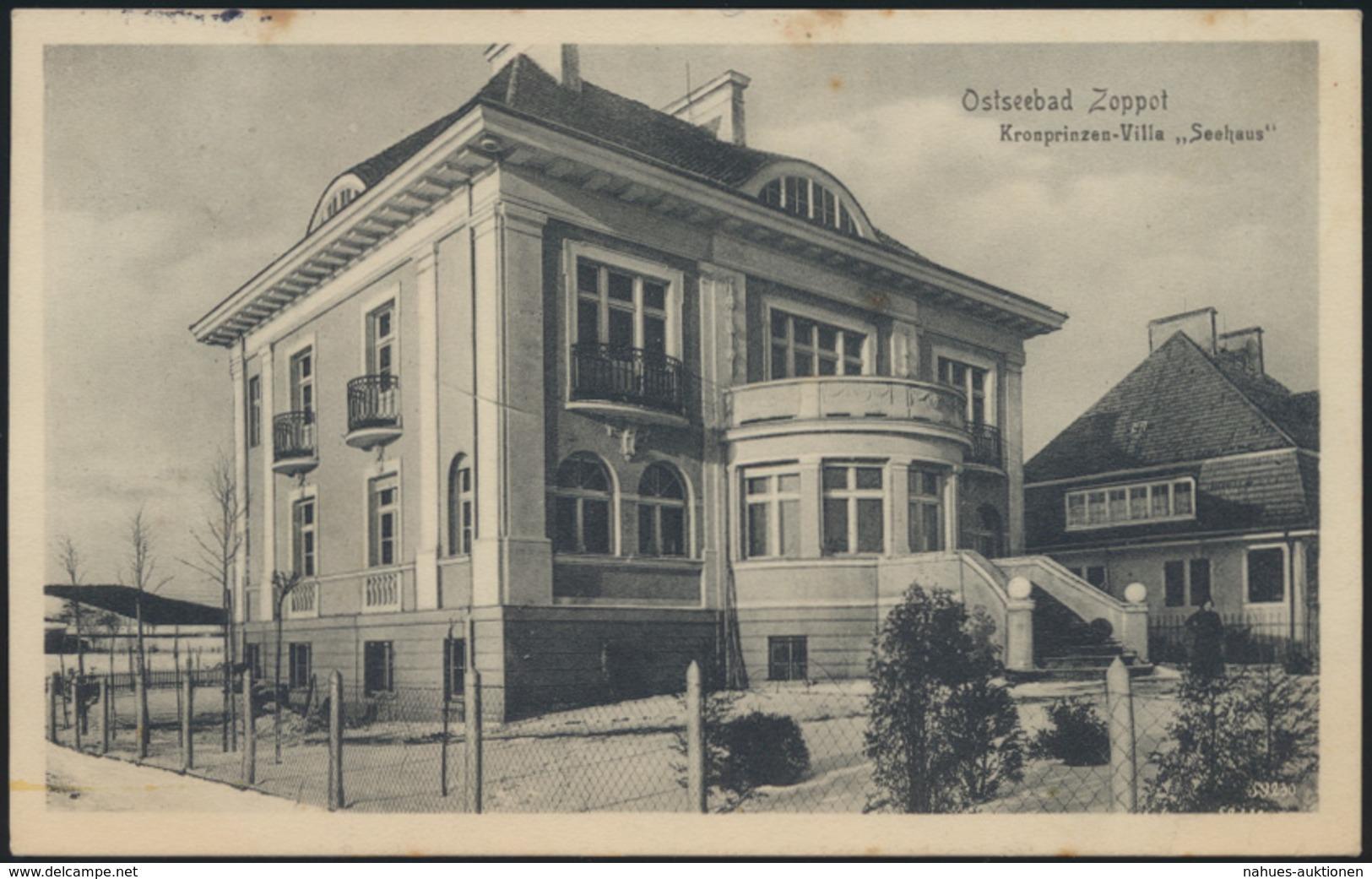 Ansichtskarte Danzig Zoppot Ostsee Kronprinzen Villa Seehaus N. Altona Ottensen - Danzig