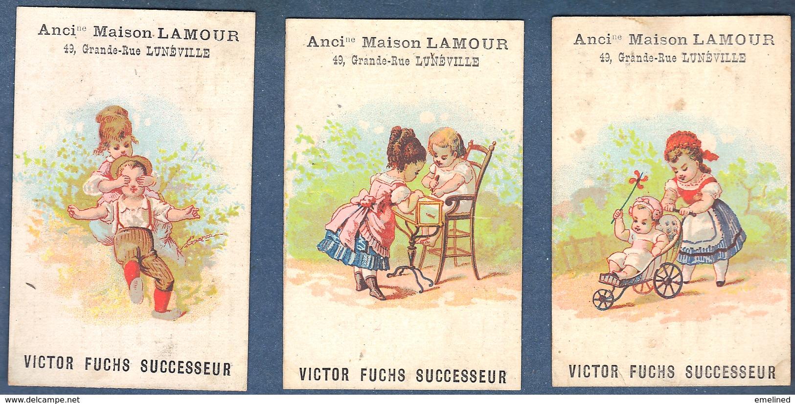 Chromo Maison Lamour Victor Fuchs Lunéville Lot De 3 Enfants Poussette Bébé Aquarium Chaise Haute Cache Cache Jeu Jouets - Trade Cards