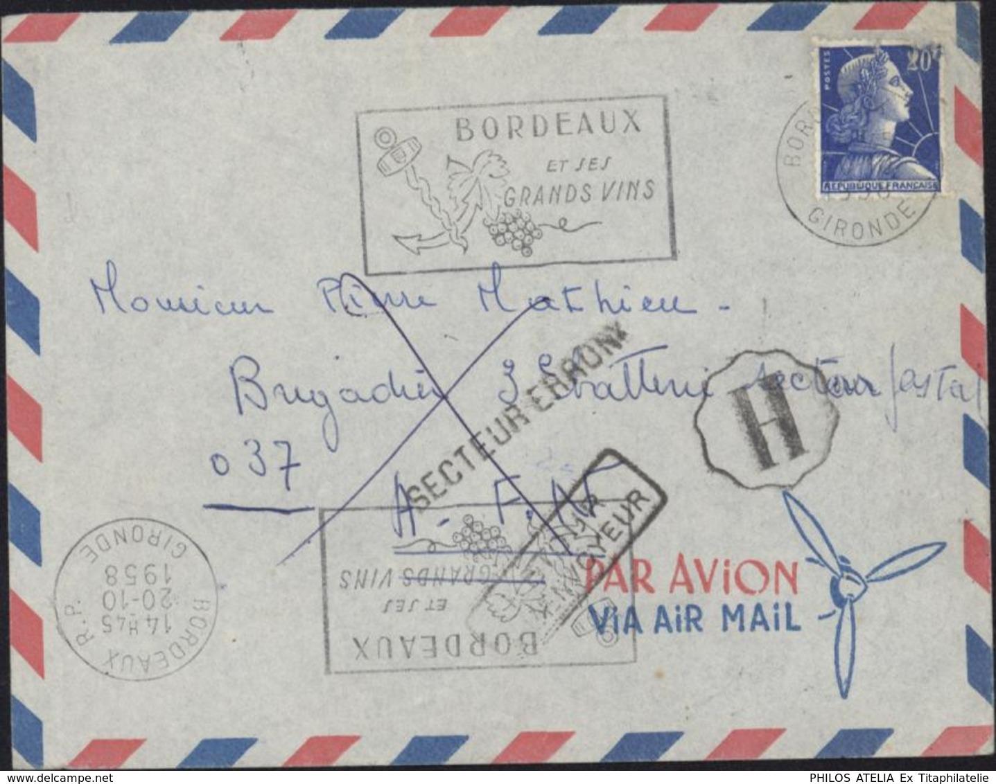 YT 1011B Marianne Muller 20F Bleu CAD Bordeaux 20 10 58 Flamme Grands Vins Cachet H De Brigade Secteur Erroné AFN Retour - 1921-1960: Periodo Moderno