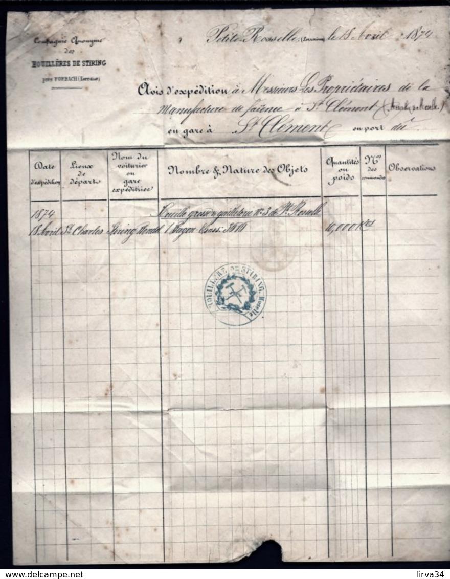 LETTRE ALSACE-LORRAINE OCCUPÉE- FORBACH POUR ST-CLÉMENT- TIMBRES EMPIRE N°16-17- CAD TYPE 2- 1874 - 3 SCANS + INFO - Poststempel (Briefe)