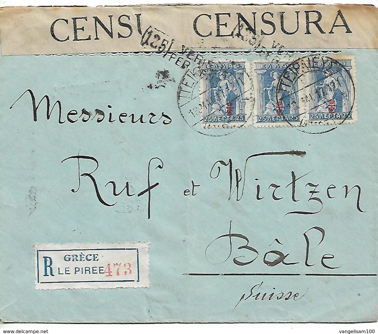 GREECE 1917 REGISTERED CENSORED COVER Sent To Bale COVER USED - Brieven En Documenten